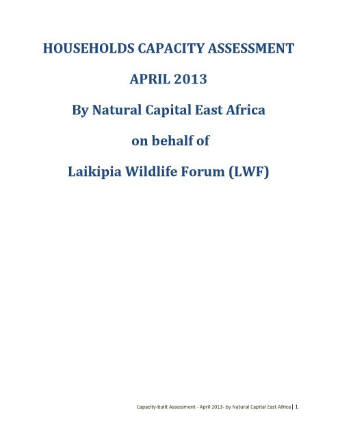 Household Capacity Assessment April 2013