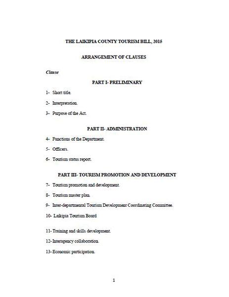 Laikipia County Tourism Bill