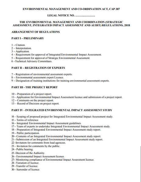 Proposed Regulation On Environmental Impact Assessment